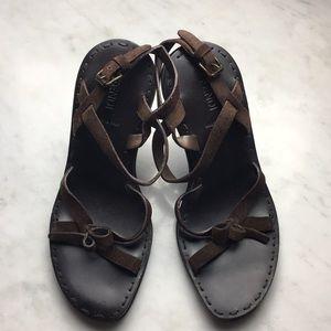 Vintage Fendi Brown Suede Strappy Sandal Heels